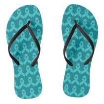 Ovarian Cancer Teal Ribbon Flip Flops