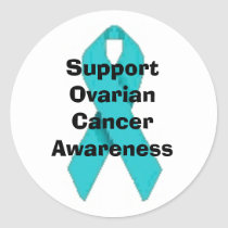 OVARIAN CANCER TEAL RIBBON STICKER