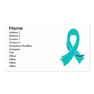 Ovarian Cancer Teal Ribbon Stylish Business Card
