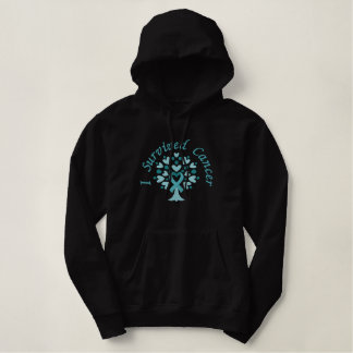 Ovarian Cancer Teal Ribbon survivor embroidered Embroidered Hoodie