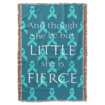 Ovarian Cancer Teal Ribbon Throw Blanket