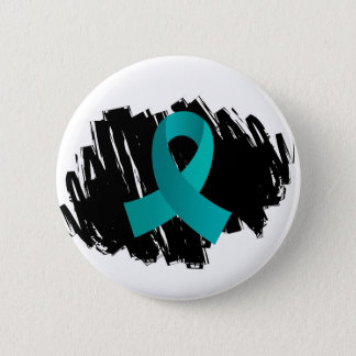 Ovarian Cancer Teal Ribbon With Scribble Pinback Button