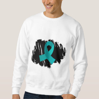 Ovarian Cancer Teal Ribbon With Scribble Sweatshirt