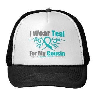 Ovarian Cancer Teal Tribal Ribbon Cousin Trucker Hat