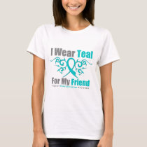Ovarian Cancer Teal Tribal Ribbon Friend T-Shirt