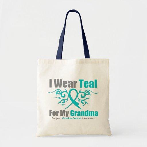 Ovarian Cancer Teal Tribal Ribbon Grandma Canvas Bag