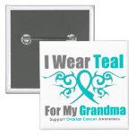 Ovarian Cancer Teal Tribal Ribbon Grandma Pin