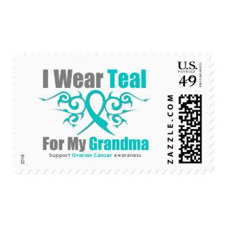 Ovarian Cancer Teal Tribal Ribbon Grandma Postage