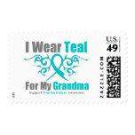 Ovarian Cancer Teal Tribal Ribbon Grandma Stamp