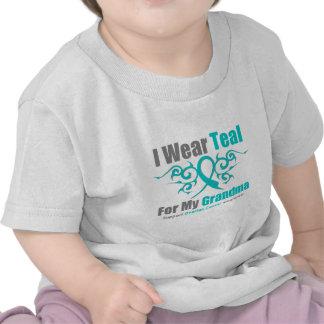 Ovarian Cancer Teal Tribal Ribbon Grandma T Shirt