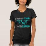 Ovarian Cancer Teal Tribal Ribbon Grandma Tshirt