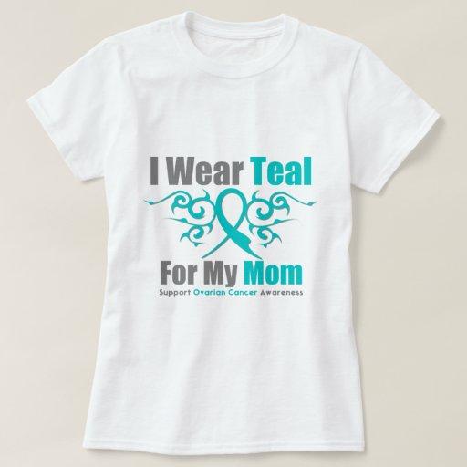 Ovarian Cancer Teal Tribal Ribbon Mom T Shirts