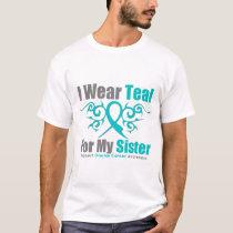 Ovarian Cancer Teal Tribal Ribbon Sister T-Shirt