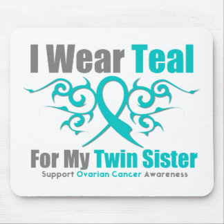 Ovarian Cancer Teal Tribal Ribbon Twin Sister Mousepad