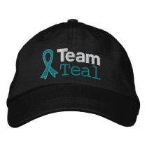 Ovarian Cancer Team Teal Embroidered Baseball Hat