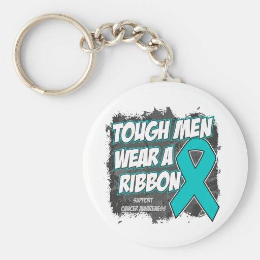 Ovarian Cancer Tough Men Wear A Ribbon Key Chain