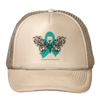Ovarian Cancer Tribal Butterfly Ribbon Hat