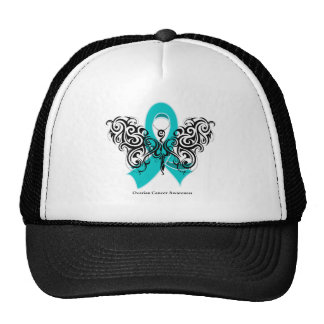 Ovarian Cancer Tribal Butterfly Ribbon Mesh Hat