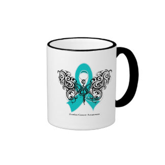 Ovarian Cancer Tribal Butterfly Ribbon Mugs