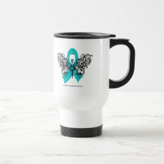 Ovarian Cancer Tribal Butterfly Ribbon Coffee Mug