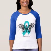 Ovarian Cancer Tribal Butterfly Ribbon T-Shirt