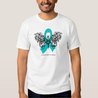 Ovarian Cancer Tribal Butterfly Ribbon Tee Shirt