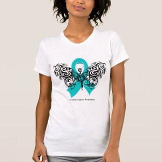 Ovarian Cancer Tribal Butterfly Ribbon Tee Shirt