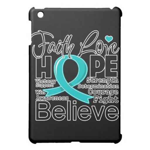 Ovarian Cancer Typographic Faith Love Hope iPad Mini Covers