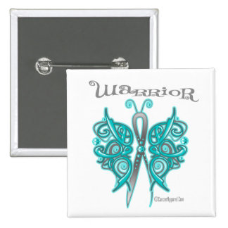 Ovarian Cancer Warrior Celtic Butterfly Button