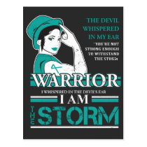 Ovarian Cancer Warrior Wife Teal Ribbon Awareness Postcard