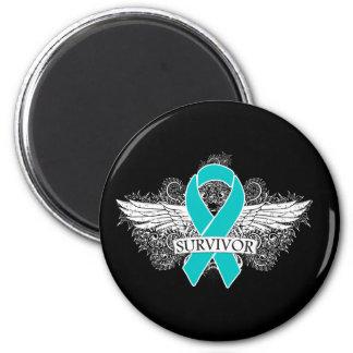 Ovarian Cancer Winged SURVIVOR Ribbon Magnets