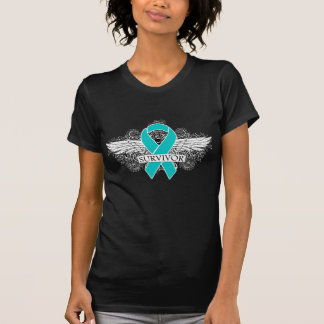 Ovarian Cancer Winged SURVIVOR Ribbon Tee Shirt