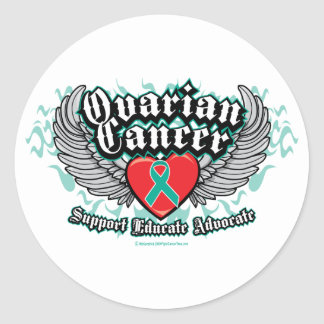 Ovarian Cancer Wings Classic Round Sticker