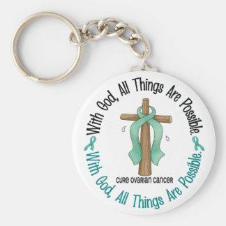 Ovarian Cancer WITH GOD CROSS 1 Keychain