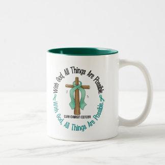 Ovarian Cancer WITH GOD CROSS 1 Two-Tone Coffee Mug