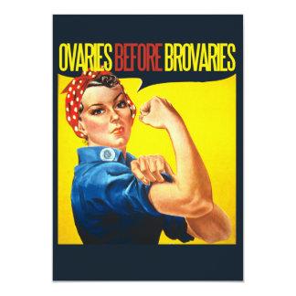 Ovaries before Brovaries Feminist humor 5x7 Paper Invitation Card