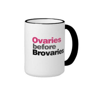 Ovaries before Brovaries Ringer Coffee Mug