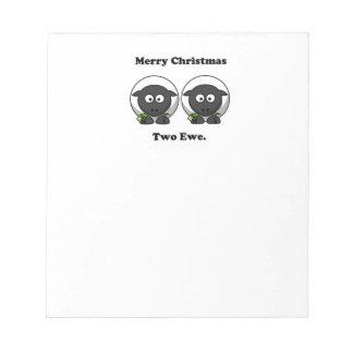 Oveja de las Felices Navidad dos a usted dibujo Blocs De Papel