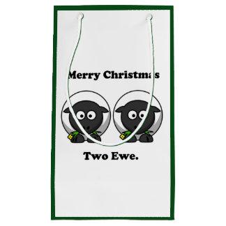 Oveja de las Felices Navidad dos a usted dibujo Bolsa De Regalo Pequeña