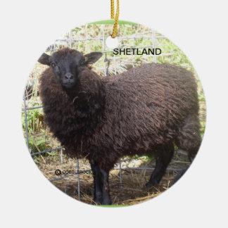 Oveja de Shetland Adorno Redondo De Cerámica