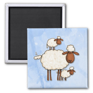oveja del amor (ningún txt) imán cuadrado