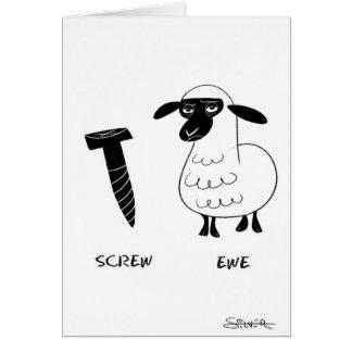 oveja del tornillo tarjeta de felicitación