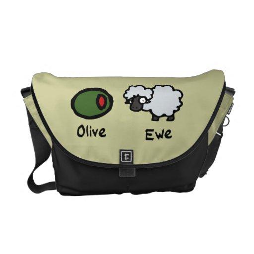 Oveja verde oliva bolsa messenger