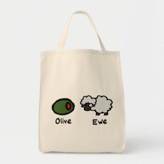 Oveja verde oliva bolsa tela para la compra