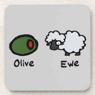 Oveja verde oliva posavasos de bebidas