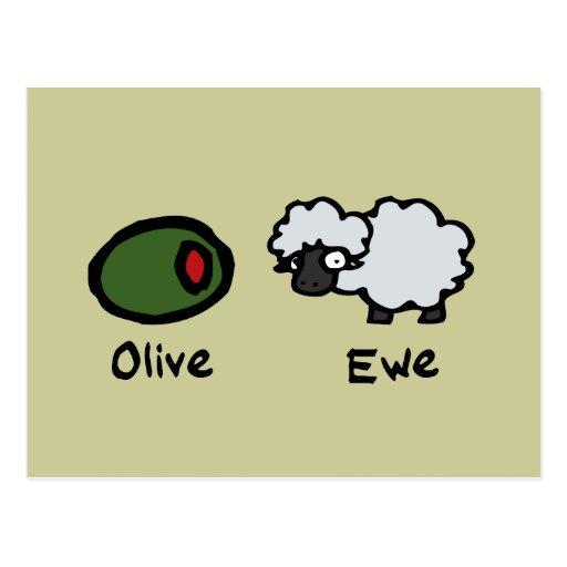 Oveja verde oliva postal