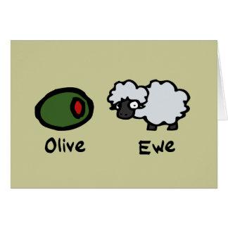Oveja verde oliva tarjetas