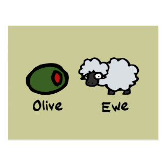 Oveja verde oliva postales