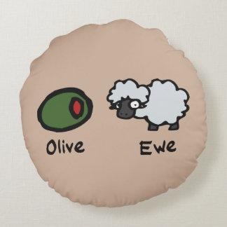 Oveja verde oliva (te amo) cojín redondo