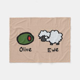 Oveja verde oliva (te amo) manta de forro polar